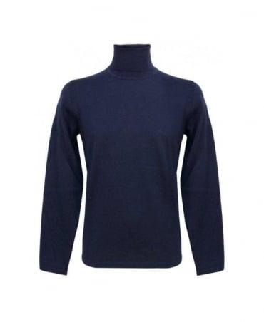 Hugo Blue Polo Neck Sirialano Knitwear