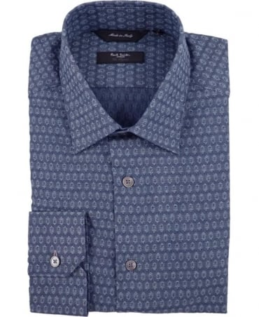 Paul Smith - London Blue PPXL-659A-R62 The Byard Allover Pattern Shirt