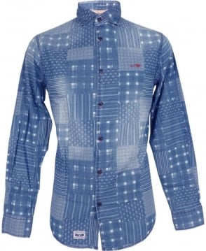 Armani Jeans Blue Printed Denim A6C20NK Slim Fit Shirt