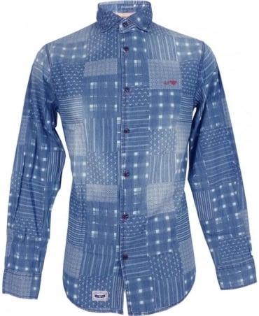 Armani Blue Printed Denim A6C20NK Slim Fit Shirt