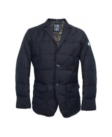 Armani Blue Quilted Two Button Blazer U6N02