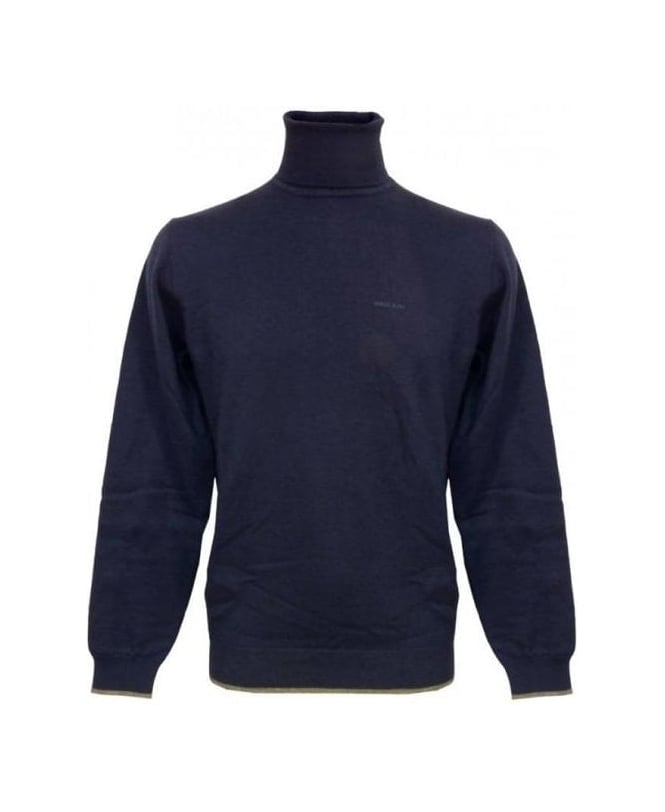 Armani Jeans Blue Roll Neck Knitwear With Elbow Patches U6W85