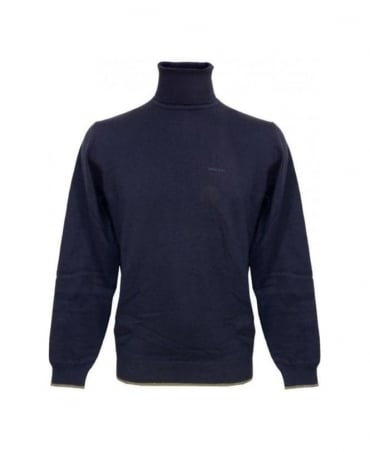 Armani Blue Roll Neck Knitwear With Elbow Patches U6W85