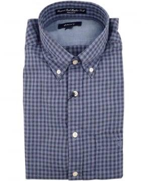 Gant Blue Ruppert Park Heather Twill Gingham Check Shirt