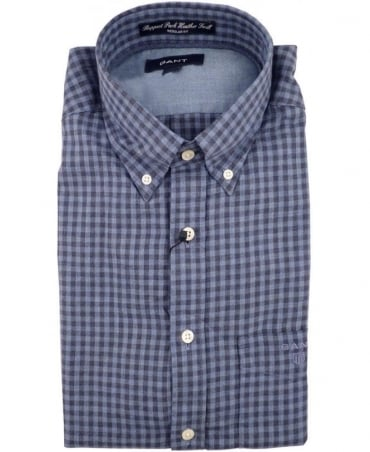 Gant Blue Ruppert Park Heather Twill Gingham Check Shirt