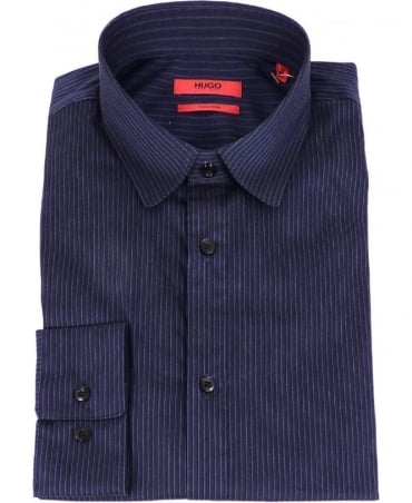 Blue Self Stripe Extra Slim Fit Shirt