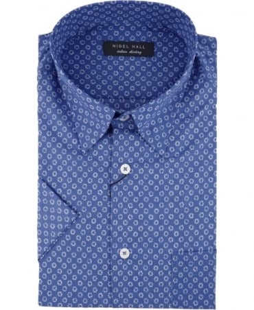 Nigel Hall Blue Shelter Circle Print Shirt
