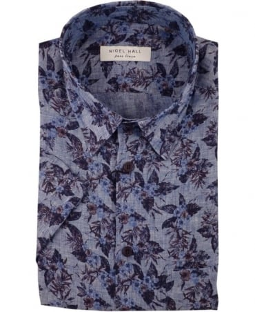 Nigel Hall Blue Shelter Floral Print Linen Short Sleeve Shirt