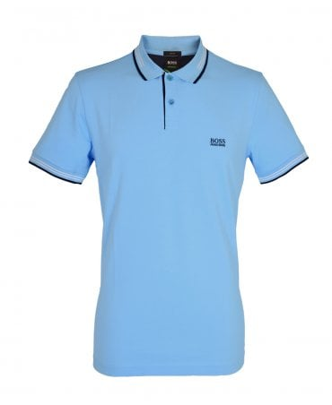 Blue Slim Fit Polo With Contrast Tipping