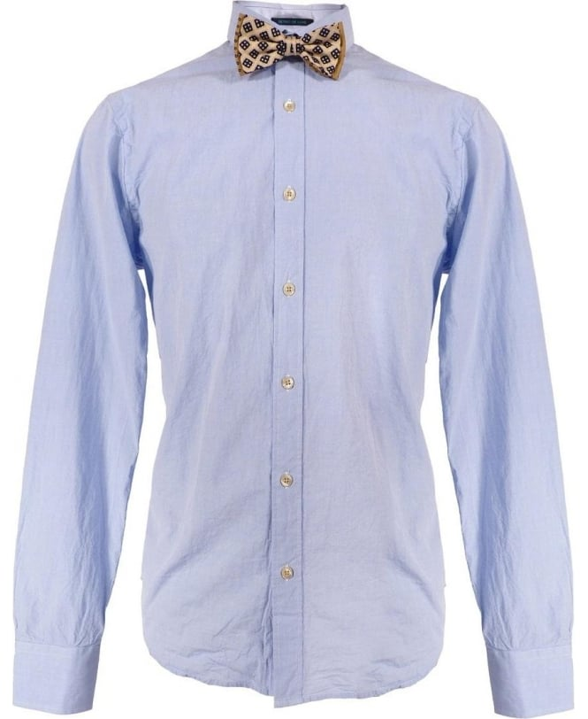 Scotch & Soda Blue Slim Fit Shirt & Bow Tie