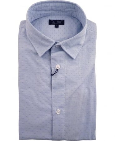 Armani Blue Slim Fit Short Sleeve Shirt