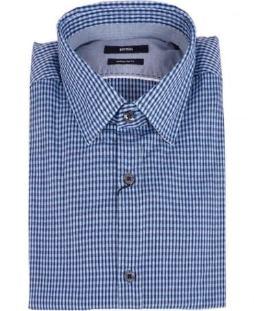 Hugo Boss Blue Small Check Pattern Regular Fit Lorenzo Shirt