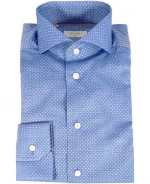 Eton Shirts Blue Square Polka Dot Slim Fit Shirt