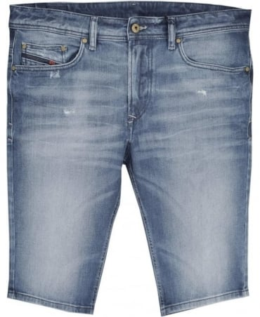 Diesel Blue Stretch Denim Thashort Shorts