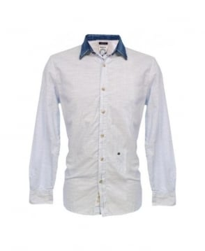 Diesel Blue Stripe Denim Collar Saturno-R Shirt
