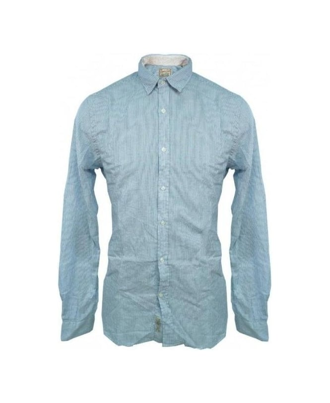 Scotch & Soda Blue Stripe Elbow patch Shirt 13040720007
