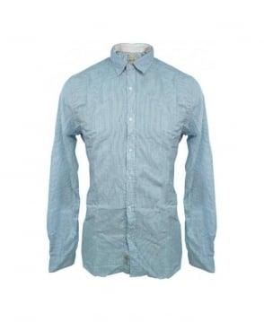 Scotch & Soda Blue Stripe Elbow patch Shirt 13040720007