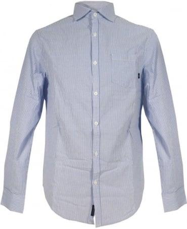 Armani Blue Stripe Seersucker Shirt