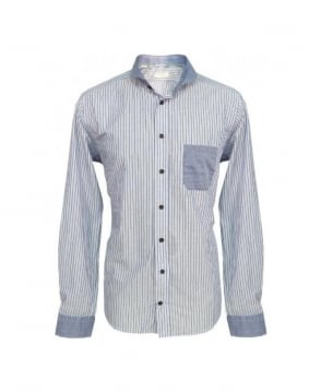 Eton Shirts Blue Stripe Shirt With Contrast Detail