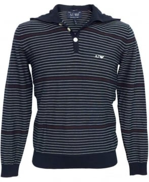 Armani Jeans Blue Stripe V6W05 Hooded Knitwear Jumper