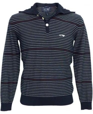 Armani Blue Stripe V6W05 Hooded Knitwear Jumper