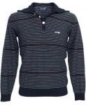 Armani Jeans Blue Stripe V6W05 Hooded Knitwear Jumper