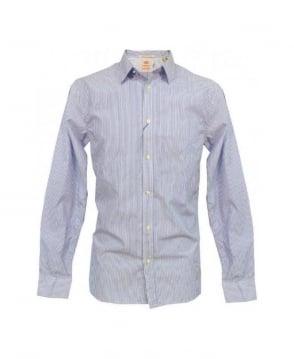 Scotch & Soda Blue Stripe With Tweed Elbow Patch Shirt