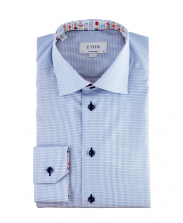 Blue Textured Check With Ice Details Shirt