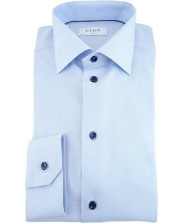 Eton Shirts Blue Twill Slim Fit Shirt