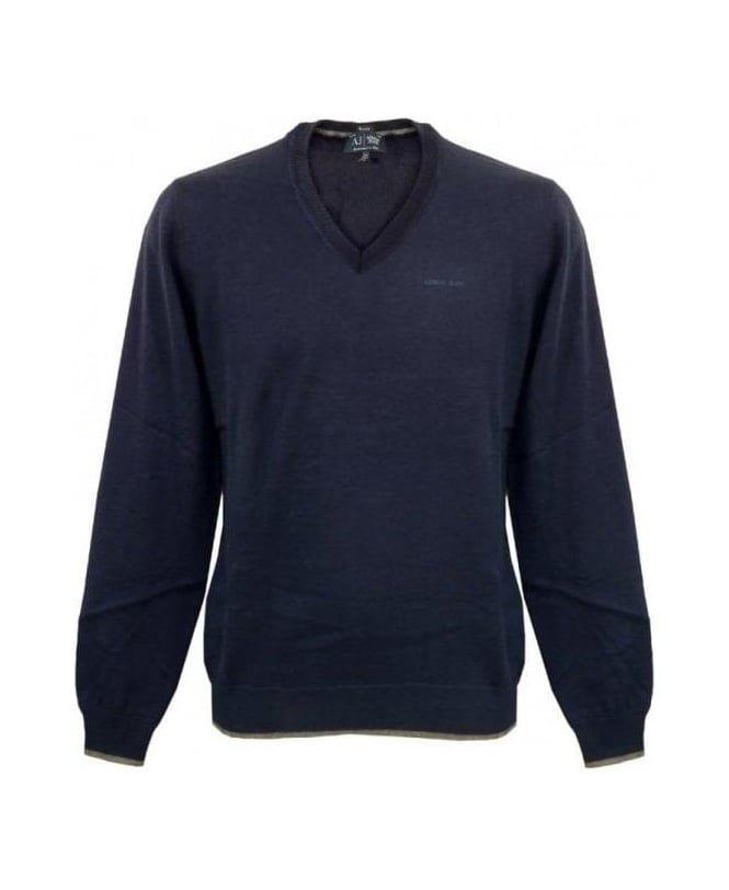Armani Jeans Blue V-Neck Knit With Grey Elbow Patches U6W83