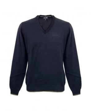 Armani Blue V-Neck Knit With Grey Elbow Patches U6W83