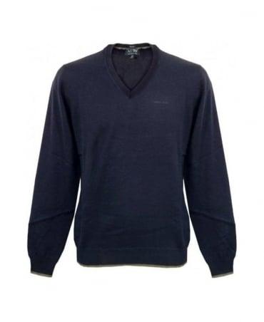 Armani Blue V-Neck Knit With Grey Elbow Patches U6W83