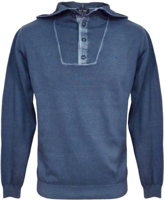 Armani Jeans Blue V6W13 Knitwear Hooded Jumper