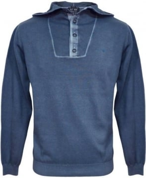 Armani Jeans Blue V6W13 Knitwear Hooded Jumper