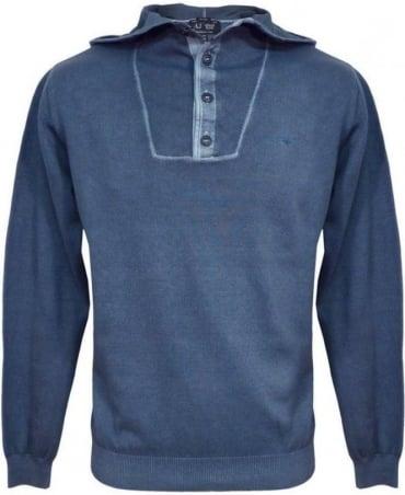 Armani Blue V6W13 Knitwear Hooded Jumper