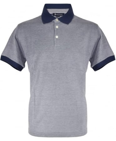 Aquascutum Blue Wallace Contrast Polo Shirt