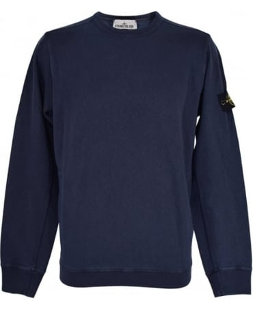 Stone Island Blue Washed Crew Neck Sweatshirt