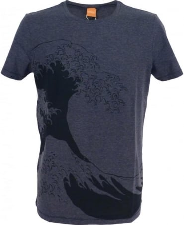 Hugo Boss Blue Wave Motif 'Telson 01' T/Shirt
