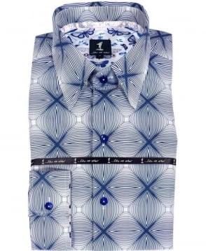1 ...Like No Other Blue & White Geometric Pattern Shirt 2773S