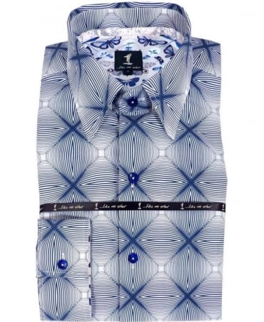 1 ...Like No Other Blue & White Geometric Pattern Shirt 2773S
