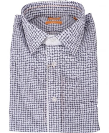 Hugo Boss Blue & White Houndstooth EslimE Shirt