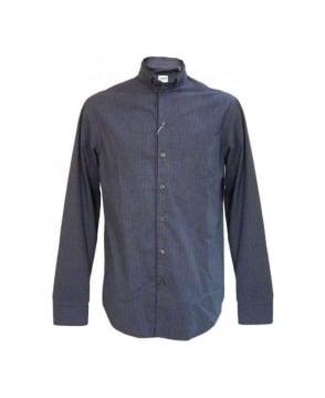 Armani Collezioni Blue & White MC2F5 Nehru Collar Shirt