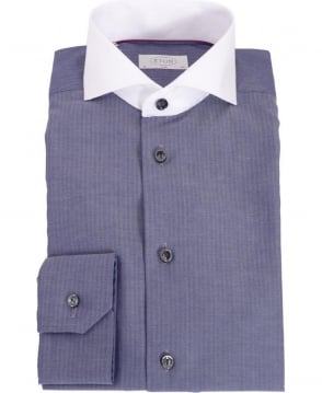 Eton Shirts Blue & White Slim Fit Formal Shirt