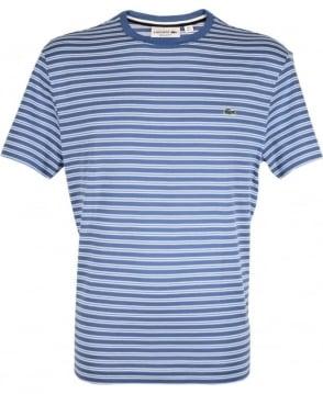Lacoste Blue & White Stripe Crew Neck TH1889 T-Shirt
