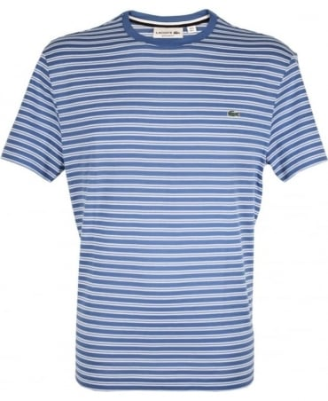 Lacoste Blue & White Stripe Crew Neck TH1889 T-Shirt