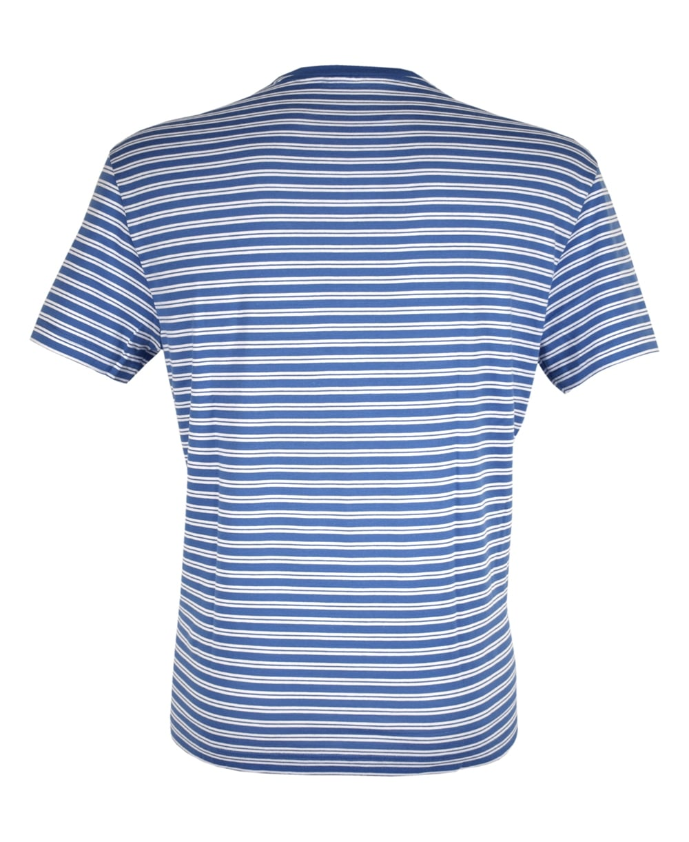 Blue white stripe crew neck th1889 t shirt for Crew neck white t shirt