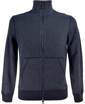 Hugo Boss Blue 'Ztark' Sweat Jacket In textured Cotton
