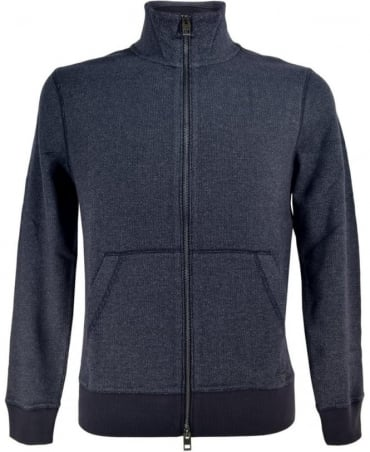 Hugo Boss Blue 'Ztark' Sweat Jacket In textured Cotton
