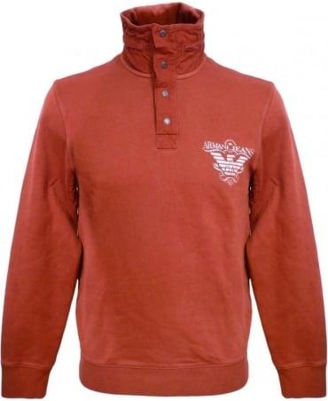 Armani Bordeaux V6M29HQ Zip Away Hooded Sweatshirt