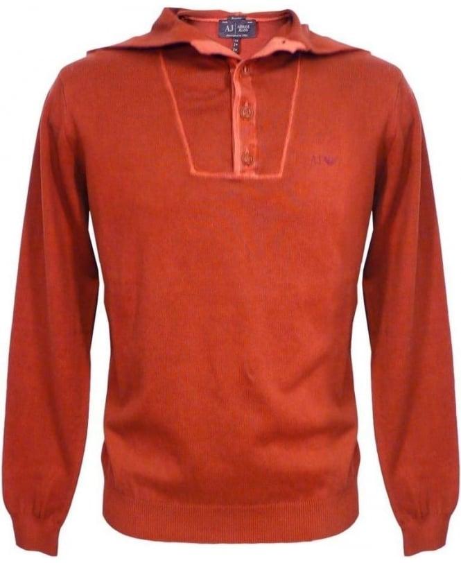 Armani Jeans Bordeaux V6W13 Knitwear Hooded Jumper